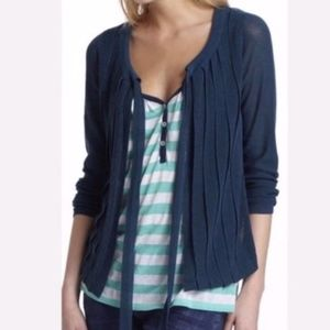 FIELD FLOWER Teal Pleated Tie Front Cardigan Med